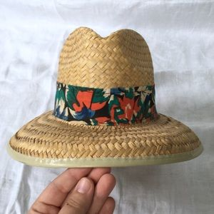 Vintage straw woven panama sun hat curved brim